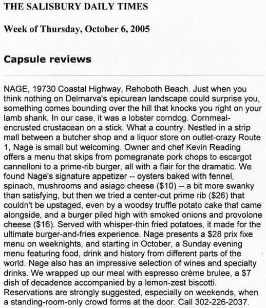News Journal Review of Nage Restaurant Washington, DC & Rehoboth, DE
